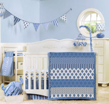 Indigo white and baby blue boy crib bedding set for an elephant nursery theme room design.
