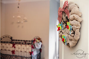Airplane nursery door wreath made using burlap for a baby boy