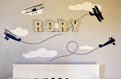 Baby boy airplane DIY nursery wall decorating ideas