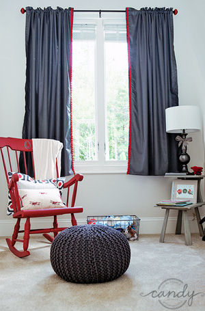 Bright red nursery rocking chair