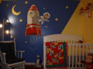 curious george astronaut outer space rocket ship wall mural nursery theme baby boy crib bedding quilt