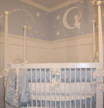 Baby boy nursery wall painting ideas with moon and stars quote in blue and white