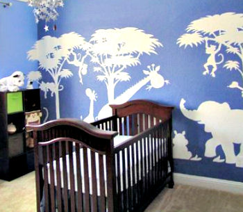 Large painted safari nursery wall mural in baby blue