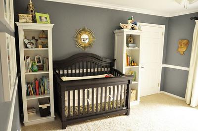 Baby Boy's Navy Blue and White Nursery with Touches of Green and Gold Metallic Decorations and Decor