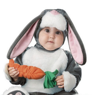 Infant baby bunny costume for Easter or Halloween trick or treat with carrot and floppy ears