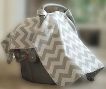 Grey and white chevron baby car seat canopy cover