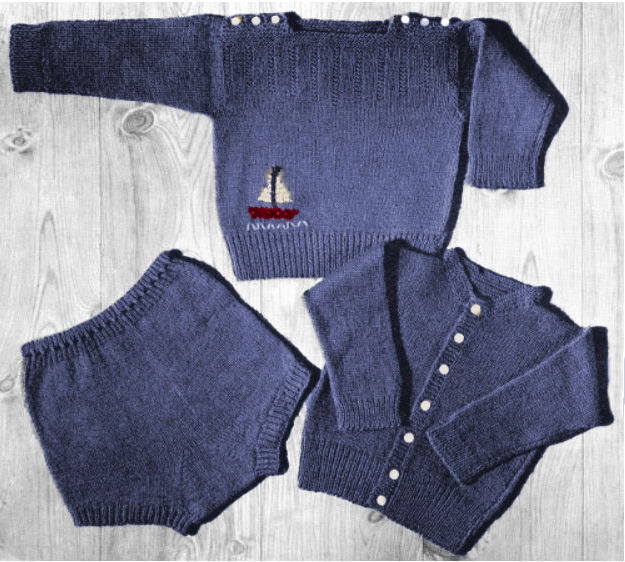 Free nautical baby sweater knitting pattern.  Embroidery sailboat pullover sweater pattern and diaper cover pattern.