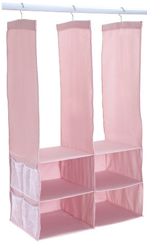 Pink hanging baby organizer for organization of the nursery closet