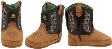 Soft leather John Deere baby cowboy boots for infants