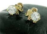 gold baby elephant diamond earrings children girls stud jewelry
