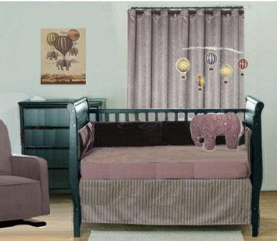Plum purple copper and gray baby elephants and hot air balloons nursery theme