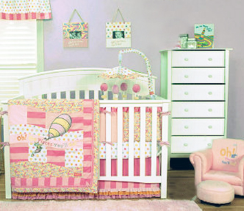 Pink Dr Seuss baby nursery design ideas for a baby girl room with crib bedding set