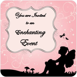 Elegant pink and white baby girl fairy baby shower invitation silhouette mushrooms
