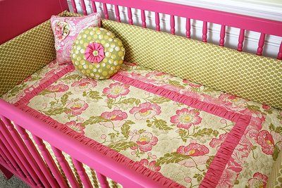 hot pink and green baby girl nursery custom bedding crib collection