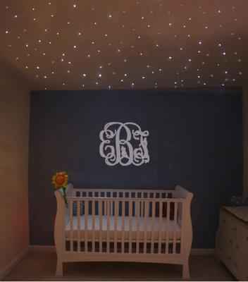 Baby Girl Nursery with Stars Overhead - Fiber Optic Ceiling Lighting