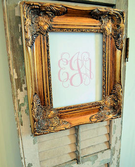 DIY printable pink baby girl monogram initials in a vintage frame to make yourself