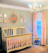 Pink aqua and cream baby girl nursery ideas in an elegant design