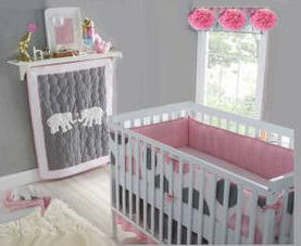 Baby girl elephant theme nursery decorated in pink, gray with polka dots baby crib bedding