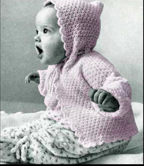 Free hooded baby sweater knitting pattern with scalloped scallops edging border for an infant baby girl