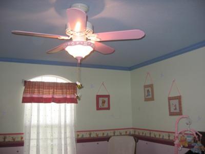 Winnie the Pooh baby nursery ceiling cloud mural painting