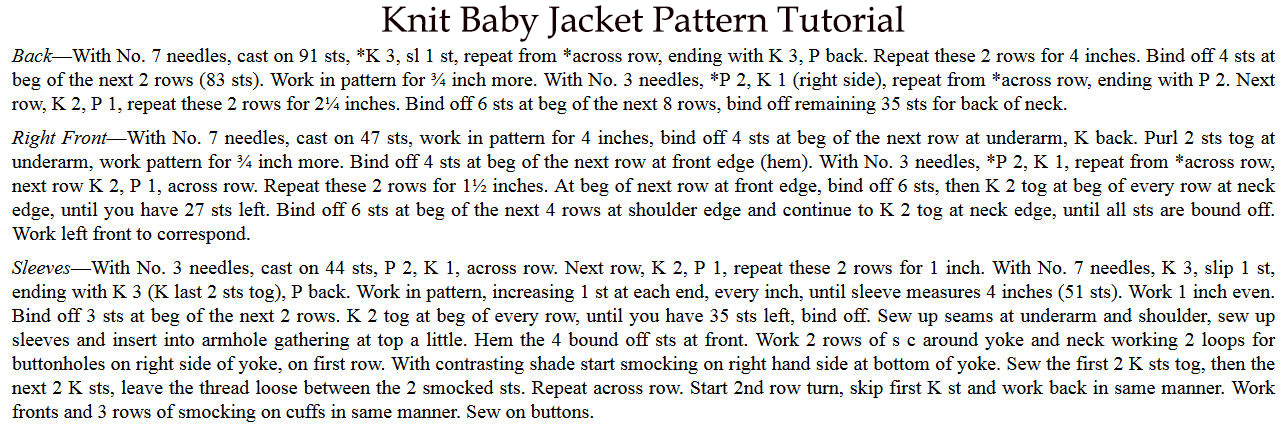 Free vintage knit baby sweater jacket pattern.