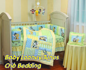 Baby Looney Tunes baby crib bedding set and nursery decor with Baby Taz Tweety Bird Sylvester the Cat and Bugs Bunny