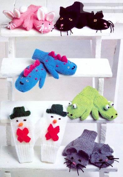 Baby mittens gloves knitting patterns knit animals bunny rabbit kitty cat snowman mouse dinosaur
