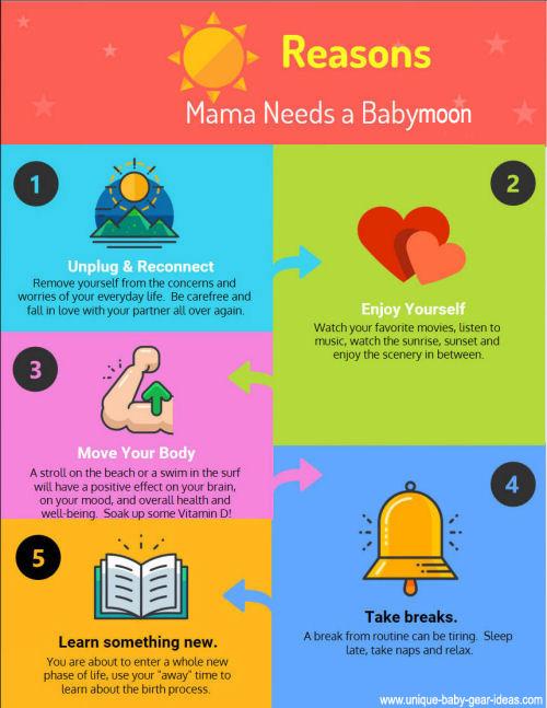 Reasons mama needs a babymoon getaway vacation infographic