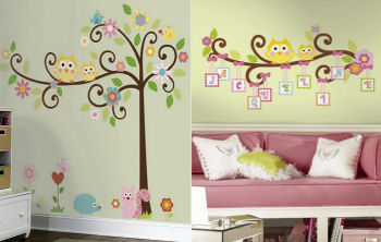Gender neutral ideas for baby owl murals for the nursery walls