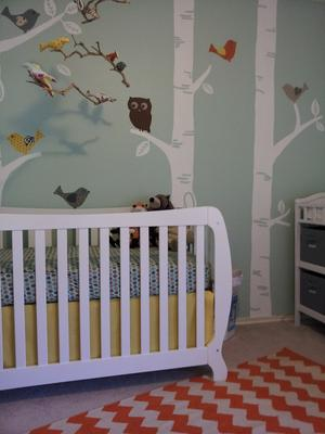 DIY birch tree nursery wall mural hand painted by mom