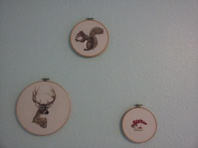 Vintage style forest creature nursery wall decorations hand embroidered by mom