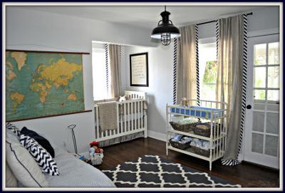 Baby Owen's nursery was decorated with special family items and antiques that give it a vintage feel as well as modern pieces.