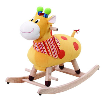 Baby rocking horse toy with safety harness and back rest for support