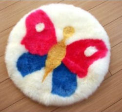 Colorful round butterfly theme sheepskin baby nursery area throw rug