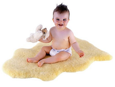 Natural sheepskin baby rug, blanket or comforter