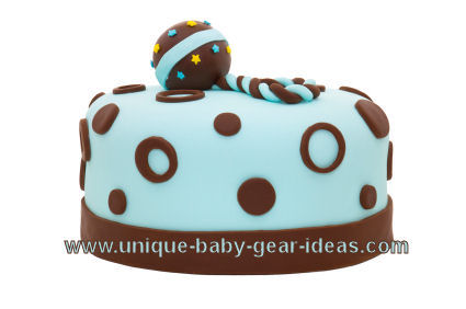 Chocolate brown and blue baby shower cake for a boy's shower decorated ...