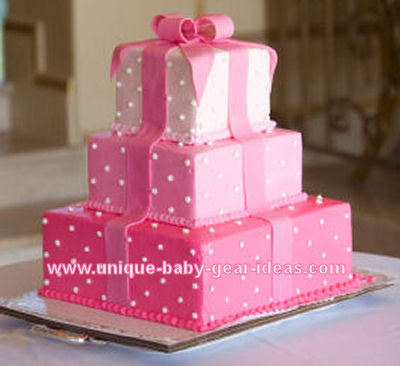 ... gift box baby shower cake for a girl with a large fondant bow on top