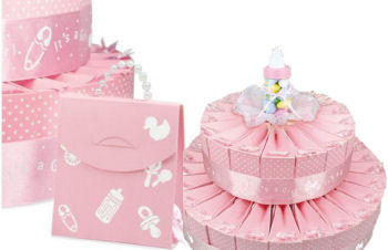 Pink baby shower favor cake for a girl with duck and rattle theme favor boxes