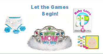 Mom to be tiara surrounded by the top baby shower games