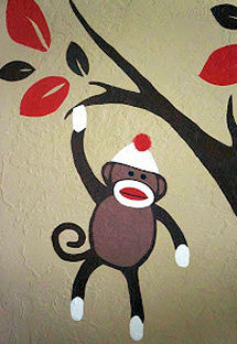 Sock monkey mural painting pattern design