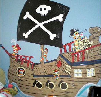 Baby sock monkey nursery wall mural painting for a baby boy pirate sock monkey theme room