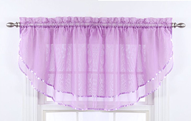 Sheer lavender baby nursery window valance with ribbon trim