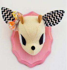 Pink baby girl stuffed deer wall decor for Willows nursery