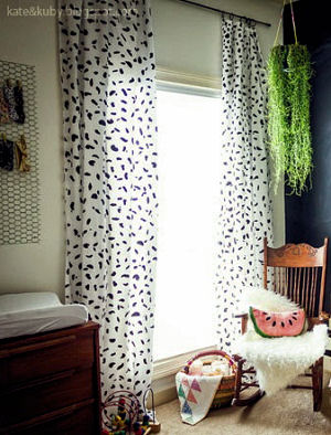 No sew homemade nursery curtains with panels made from a king size sheet