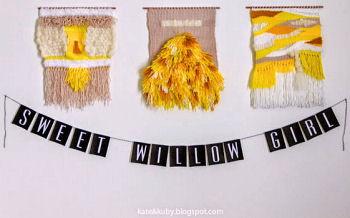 Homemade woven wall decor and baby girl name banner