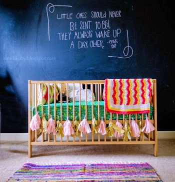 Baby girl nursery design with chalkboard wall featuring Peter Pan quote