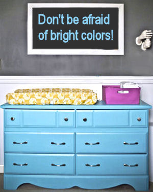 Recycled baby dresser painted teal blue