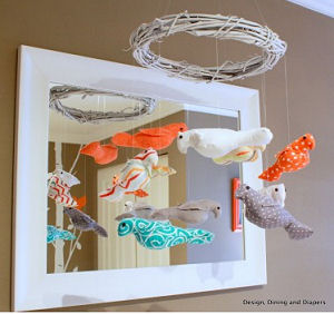 Baby e 39 s bird theme nursery for Bird mobiles for nursery