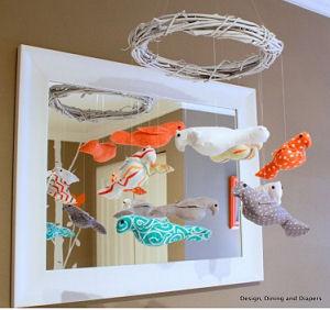 Modern orange brown and white bird theme baby crib mobile