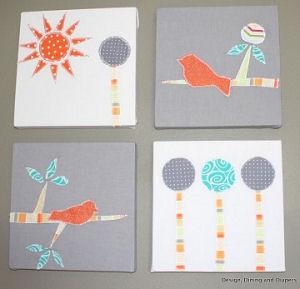 Handmade bird and tree themed baby nursery canvas fabric applique wall art